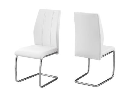 "Monarch I107SH Set of (2) 39"" Dining Chair with Leather-Look Upholstery, Stitching Detail and Chrome Base in"
