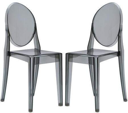 """EdgeMod Burton Collection 36"""" Set of 2 Side Chairs with Oval Back, Injection Molded, Tapered Legs and Polycarbonate Material"""