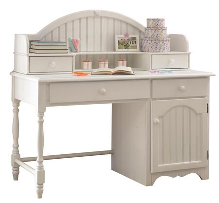 """Hillsdale Furniture 1113DH Westfield 53.25"""" Desk and Hutch with 4 Drawers, 1 Door, Bead Board Details, Carved Apron and Sculpted Feet in"""