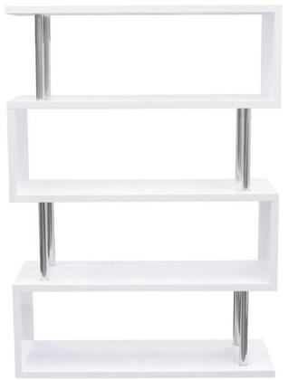 Diamond Sofa X-Series Collection Shelving Unit with Stainless Steel Supports, Medium-Density Fiberboard (MDF) and High Gloss Material in White Lacquer