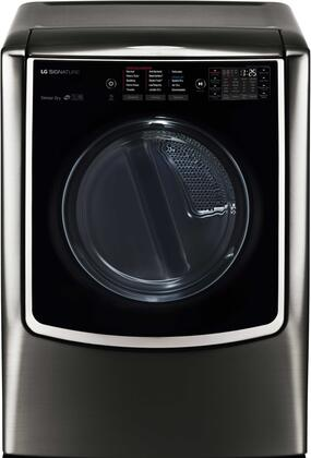"""LG Signature DLGX9501 29"""" TurboSteam Gas Dryer with 9.0 Cu. Ft. Mega Capacity, Elevated Angled Door, LoDecibel Quiet Operation, 14 Drying Programs, and NeveRust Stainless Steel Drum:"""