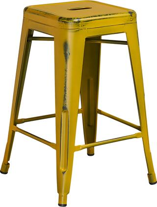 """Flash Furniture ET-BT3503-24 24"""" Indoor-Outdoor Backless Counter Height Stool with Powder Coat Finish, Cross Brace for Support and Plastic Floor Glides in"""