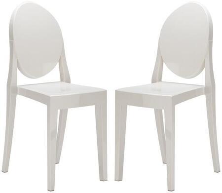 EdgeMod EM102WHIX2 Burton Series Contemporary Plastic Frame Dining Room Chair