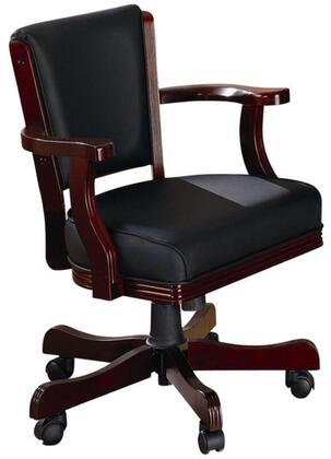 "Coaster Mitchell 47.5"" Arm Game Chair with Casters, Wooden Arms, Subtle Curves and Fabric Upholstery in"