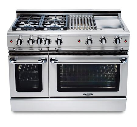 "Capital GCR484GN 48"" PRECISION Series Gas Freestanding Range with Sealed Burner Cooktop, 4.6 cu. ft. Primary Oven Capacity, in Stainless Steel"