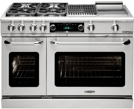 """Capital Precision Series CSB484BG-X 48"""" Freestanding Dual Fuel Electric Range with 4 Sealed Burners, Primary 4.6 Cu. Ft. Oven Cavity, Secondary 2.1 Cu. Ft. Oven Cavity, and Moto-Rotis, in Stainless Steel"""