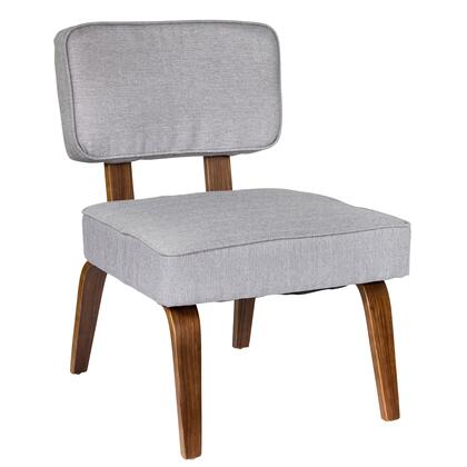 "LumiSource Nunzio CH-NNZ 27"" Accent Chair with Fabric Upholstery and Curved Walnut Wood Legs in"