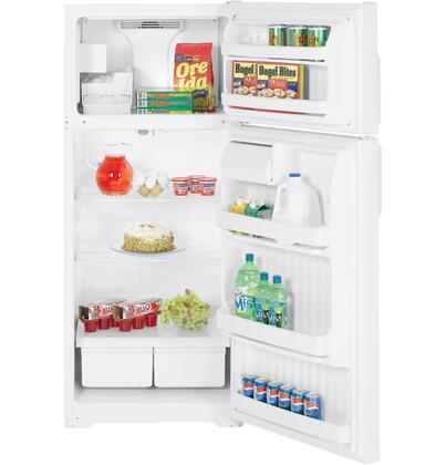 Hotpoint HTS18CCSLWW Freestanding Top Freezer Refrigerator with 18.2 cu. ft. Total Capacity 2 Wire Shelves 4.27 cu. ft. Freezer Capacity