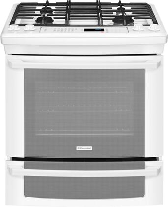 """Electrolux EI30DS55LW 30"""" IQ-Touch Series White Slide-in Dual Fuel Range with Sealed Burner Cooktop, 4.2 cu. ft. Primary Oven Capacity, Warming"""