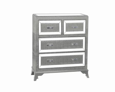 """Powell Glamour Collection 14A2019CO 42"""" Chest with Four Drawers, Glossy Crocodile Print and Mirrored Inset Top in"""