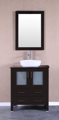 Bosconi Bosconi AB130BWLBGX Single Vanity with Soft Closing Doors , Drawers,Tempered Glass Top, Faucet, Mirror in Espresso and White Vessel Ceramic Sink