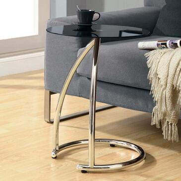 Monarch I 300 Accent Table, with Frosted Tempered Glass Round Top, Chrome Metal Base, and Modern Styling