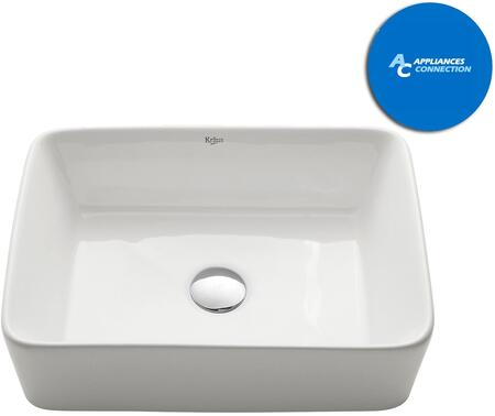 Kraus KCV121X White Ceramic Series Rectangular Vessel Sink with Included Pop-Up Drain
