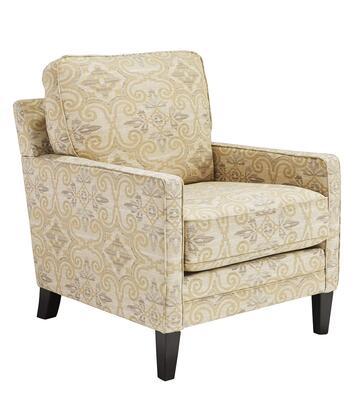 Milo Italia MI488225FAWN Rebecca Series Armchair Fabric Wood Frame Accent Chair