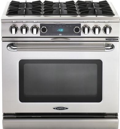 "Capital COB366N 36"" Connoisseurian Series Dual Fuel Freestanding Range with Open Burner Cooktop, 5.4 cu. ft. Primary Oven Capacity, in Stainless Steel"