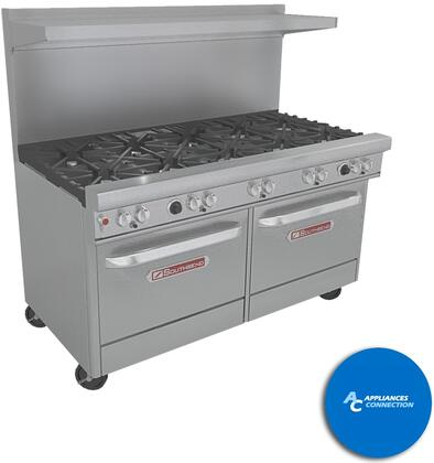 "Southbend 4601DC5 Ultimate Range Series 60"" Gas Range with Seven Standard Non-Clog Burners and Two Rear Pyromax Burners, Up to 311000 BTUs (NG)/248000 BTUs (LP), Standard Oven and Cabinet Base"