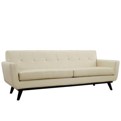 Modway EEI-1338 Engage Leather Sofa with Contemporary Design, Rubber Wood Frame, White Plastic Glides, 440 lbs. Weight Capacity, Cushioning and Tufted Back