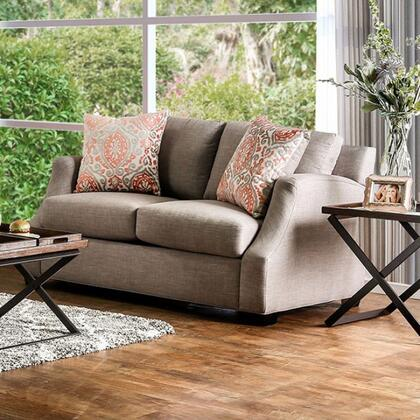 "Furniture of America Beltran Collection SM305X-LV 65"" Loveseat with Chenille Fabric Upholstery, Sloped Style Arms and 2 Pillows in"