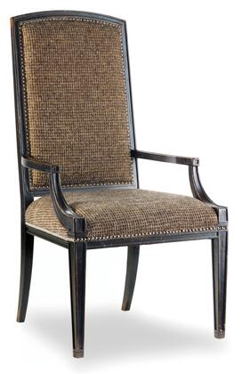 Hooker Furniture Sanctuary Series 3005-754 Casual-Style Dining Room Mirage Chair with Nail Head Accents, Tapered Legs and Fabric Upholstery in Ebony (Sold in 2 Chairs per Order/Priced Individually)