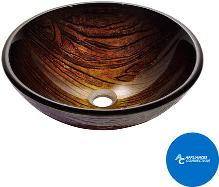 "Kraus CGV39419MM15000 Nature Series 17"" Titania Round Vessel Sink with 19-mm Tempered Glass Construction, Easy-to-Clean Polished Surface, and Included Ventus Faucet"