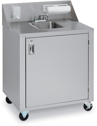 "Crown Verity CV-PHS-1C 34"" Cold Water Single Sink with 120 Volt Water Pump, Lockable Access Door, 12 Ft. Cord with Standart Wall Plug and Backsplash with Soap and Towel Dispensers in Stainless Steel"