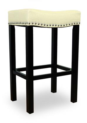 """Armen Living LCMBS013BAX Tudor 26"""" Stool with Chrome Nails and Bonded Brown Antique Leather in"""