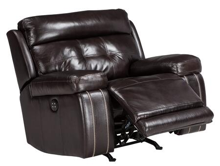 """Milo Italia Christina MI-3162GTMP 42.5"""" Recliner with Adjustable Headrest, Tufted Detailing, Jumbo Stitching, Leather Upholstery in"""