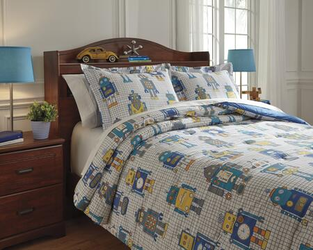 Signature Design by Ashley Machado Q77500 PC Size Comforter Set includes 1 Comforter and Standard Sham with Bar Tac Quilted Robot Design, 200 Thread Count and Cotton Material in Multi Color