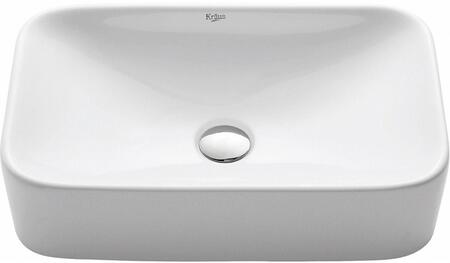 Kraus KCV122X White Ceramic Series Rectangular Ceramic Vessel Sink with Included Pop-up Drain