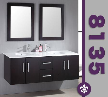 "Cambridge 8135X 59"" Wood & Porcelain Double Basin Sink Vanity Set with Faucets"