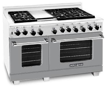 American Range ARR4842GDMG Heritage Classic Series Natural Gas Freestanding Range with Sealed Burner Cooktop, 4.8 cu. ft. Primary Oven Capacity, in Gun Metal