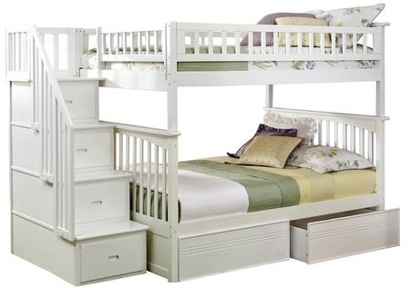 Atlantic Furniture AB5581 Columbia Staircase Bunk Bed Full Over Full With Flat Panel Bed Drawers