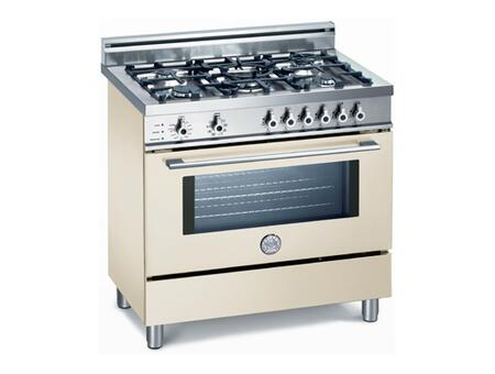 Bertazzoni X365PIRBI Professional Series Dual Fuel Freestanding Range with Sealed Burner Cooktop, 4 cu. ft. Primary Oven Capacity, Storage in White