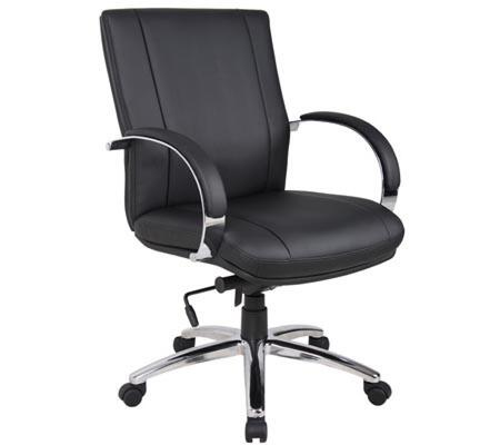 Boss AELE65C Boss Aaria Chairs Elektra Black Mid Back Executive Office Chair with Knee-Tilt