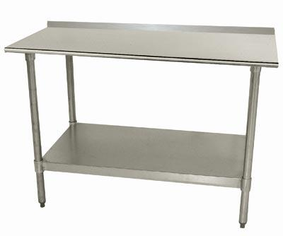 Advance Tabco TTF-30 Lite Series Work Table with Galvanized Steel Undershelf and Legs, Backsplash and Plastic Bullet Feet