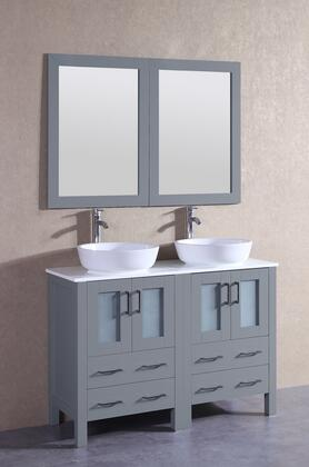"Bosconi AGR224BWLPSX XX"" Double Vanity with Phoenix Stone Top, Oval White Ceramic Vessel Sink, F-S02 Faucet, Mirror, 4 Doors and X Drawers in Grey"