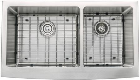 "Kraus KHF20336KPF1621KSD30 Precision Series 36"" Apron Front Double-Bowl Kitchen Sink with Stainless Steel Construction, NoiseDefend, and Included Pull-Down Kitchen Sink"