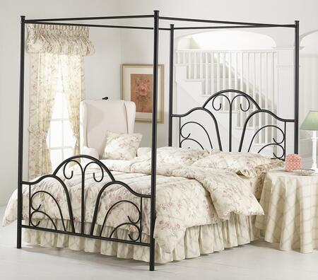 Hillsdale Furniture 348BFR Dover Canopy Bed Set with Rails Included, Scroll Design and Tubular Steel Construction Textured Black Finish