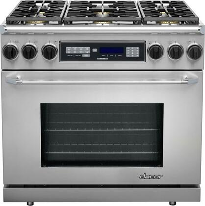 """Dacor ER36DSCHNGH 36"""" Renaissance Series Dual Fuel Freestanding Range with Sealed Burner Cooktop, 4.6 cu. ft. Primary Oven Capacity, in Stainless Steel"""