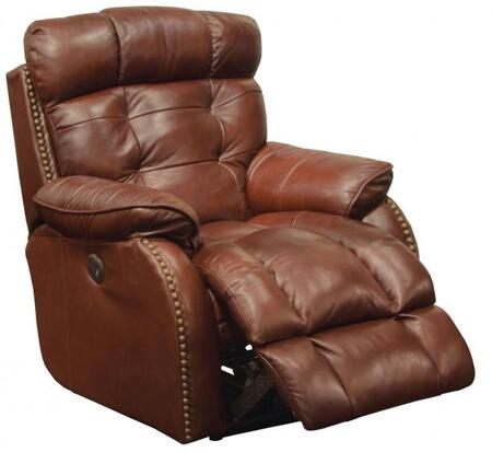 "Catnapper Patterson Collection 47737 37"" Power Lay Flat Recliner with Brass Nailhead Accents, Lay-Flat Reclining, X-tra Comfot Footrest and Top Grain Genuine Leather Upholstery"