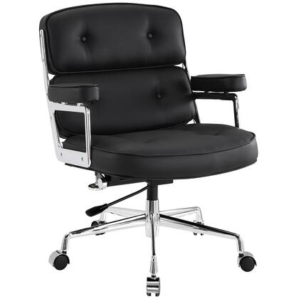 Modway EEI-276 Remix Office Chair with Modern Design, Adjustable Height, 360 Degree Swivel, Hooded Five Casters Base, Polished Aluminum Frame, Padded Vinyl Seat Back and Arms, in