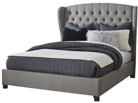 Hillsdale Furniture Bromley 1943XBR Bed with Rounded Wingback Styling, Pillowed Tufting and Fabric-Covered Side Rails in Orly Gray