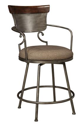 Milo Italia Sydney DR-427HBS2 High Upholstered Bar stool with Metal Frame, Scrolled Design, Swivel Base and Fabric Seat Cushion in Two-Tone Finish
