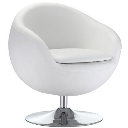 Modway EEI691WHI Rudolph Series Lounge Leather Metal Frame Accent Chair