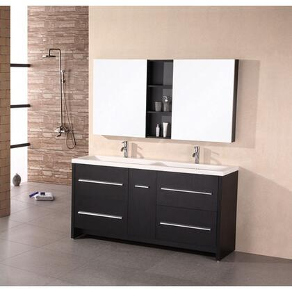 Design Element DEC079 Perfecta Double Sink Vanity Set in Espresso