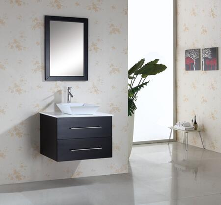 "Virtu USA Marsala MS-560-x-ES 30"" Single Sink Bathroom Vanity with Tempered Glass or Artificial White Stone Countertop, Framed Mirror, White Ceramic Basin and PS-104 Faucet, in Espresso"