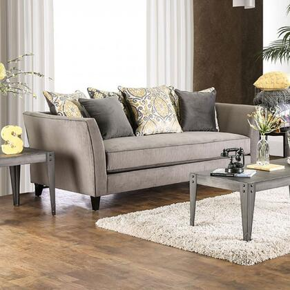 """Furniture of America Chantal Collection SM266X-SF 90"""" Sofa with Premium Velvet-like Fabric, Flared Arms and Contrasting Welting Trim in"""