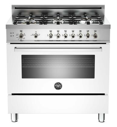 """Bertazzoni PRO366GASBILP 36"""" Professional Series Pure White Gas Freestanding Range with Sealed Burner Cooktop, 4.4 cu. ft. Primary Oven Capacity, Storage"""