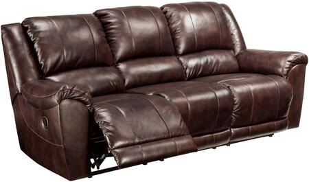 "Signature Design by Ashley Yancy 29200S 91"" Leather Match Reclining Sofa with Padded Arms, Split Back Design and Jumbo Stitching Details in Walnut Color"