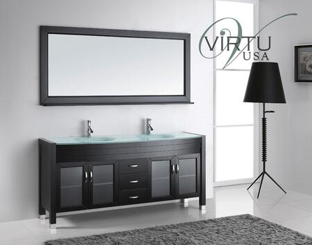 """Virtu USA Ava UM-3073- 71"""" Double Sink Bathroom Vanity in Espresso with x Countertop, Matching Mirror, PS-103 Faucets, 4 Doors and 3 Drawers"""